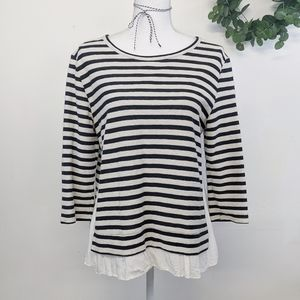 Sanctuary Stripe 3/4 Sleeve Top Size L
